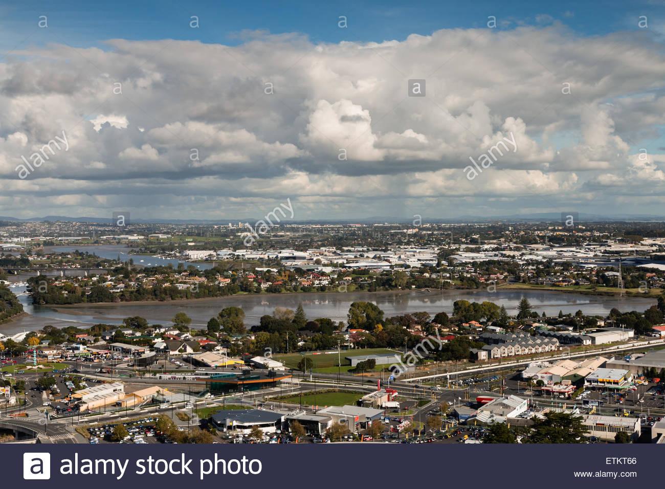 Bird-eye view to Auckland city - Stock Image