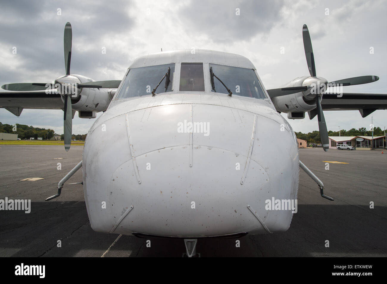 Large nose of airplane USA - Stock Image