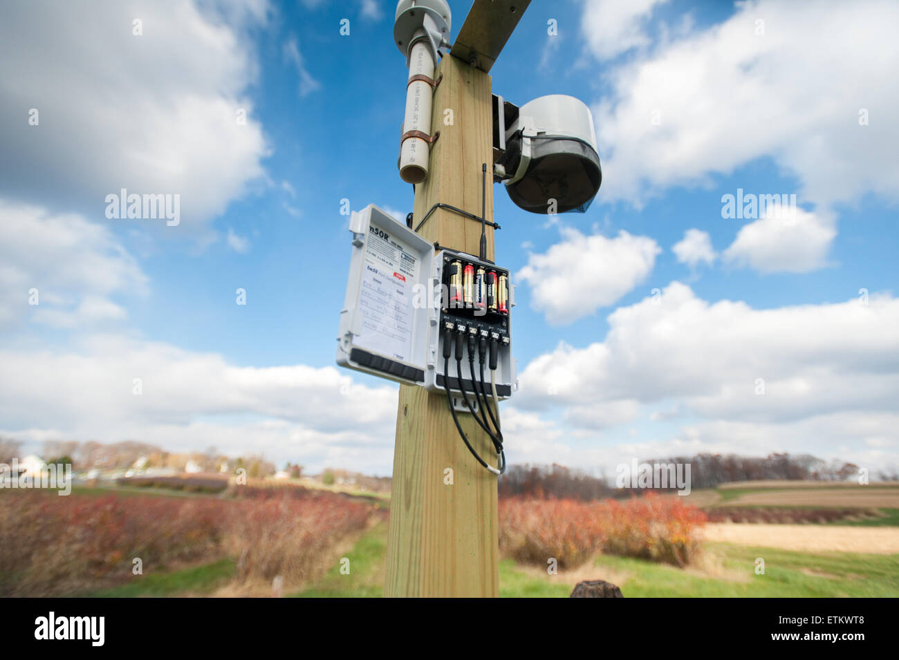 Moisture sensing unit at an orchard in Montgomery County, Maryland, USA - Stock Image
