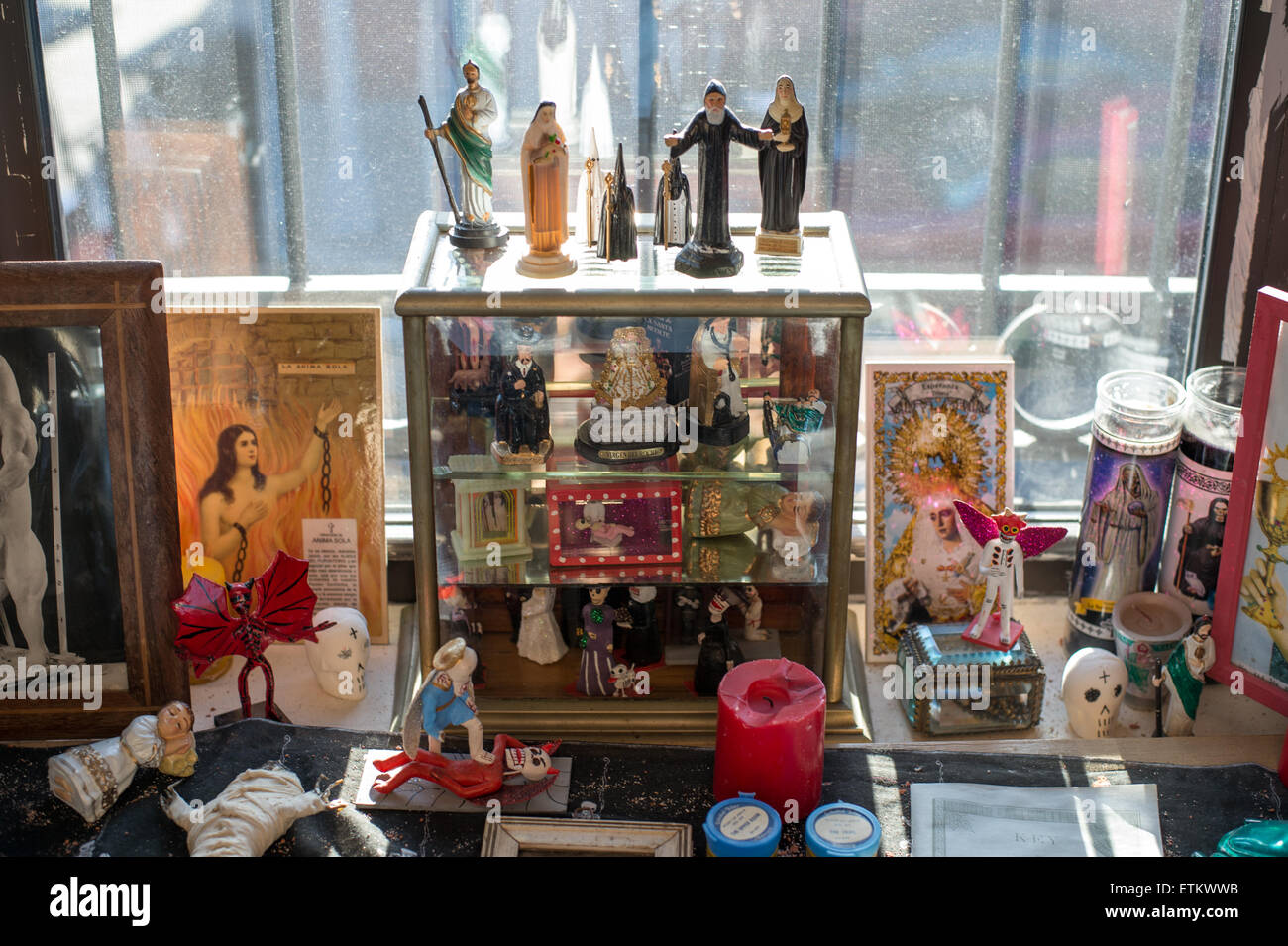 Window display of death-centric and religious figures at the Morbid ...