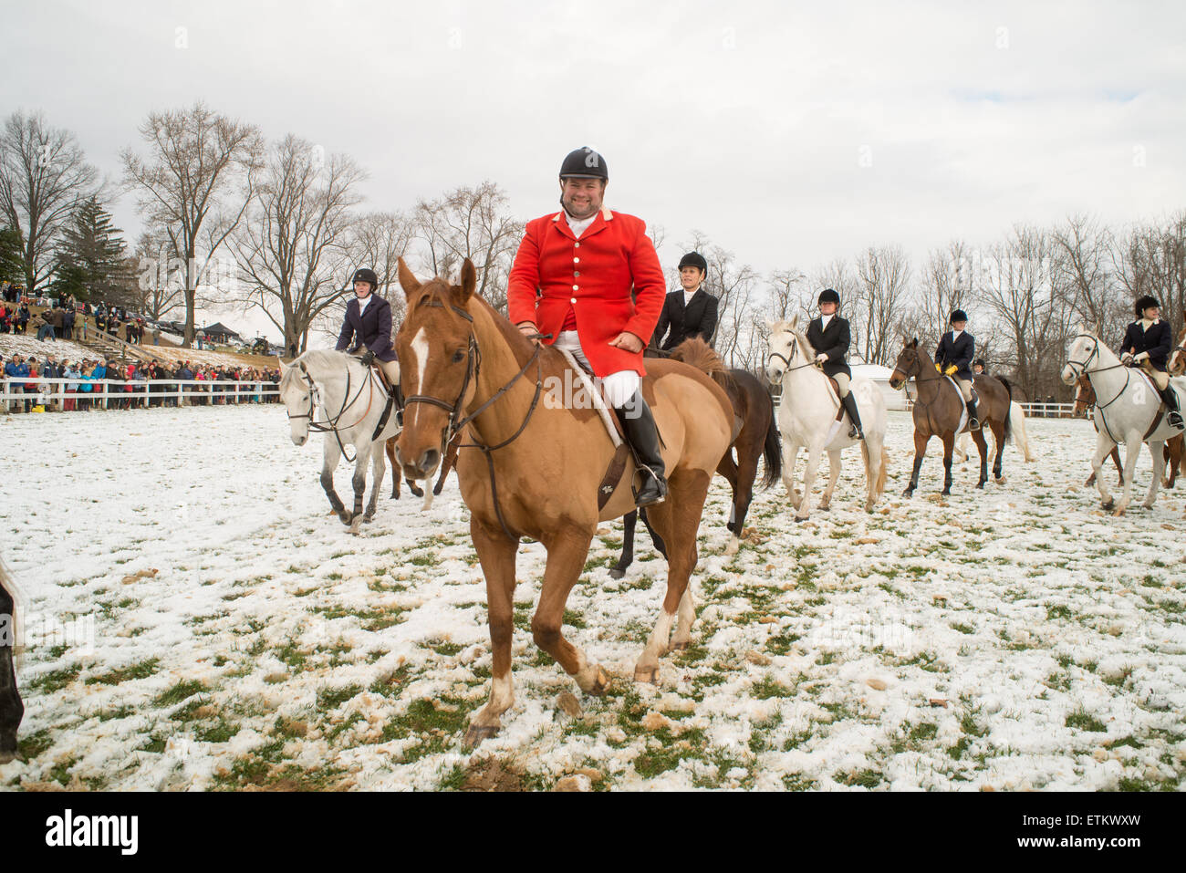 Fox hunters on horses at the Blessing of the hounds at St. James Church in Monkton, MD, USA - Stock Image