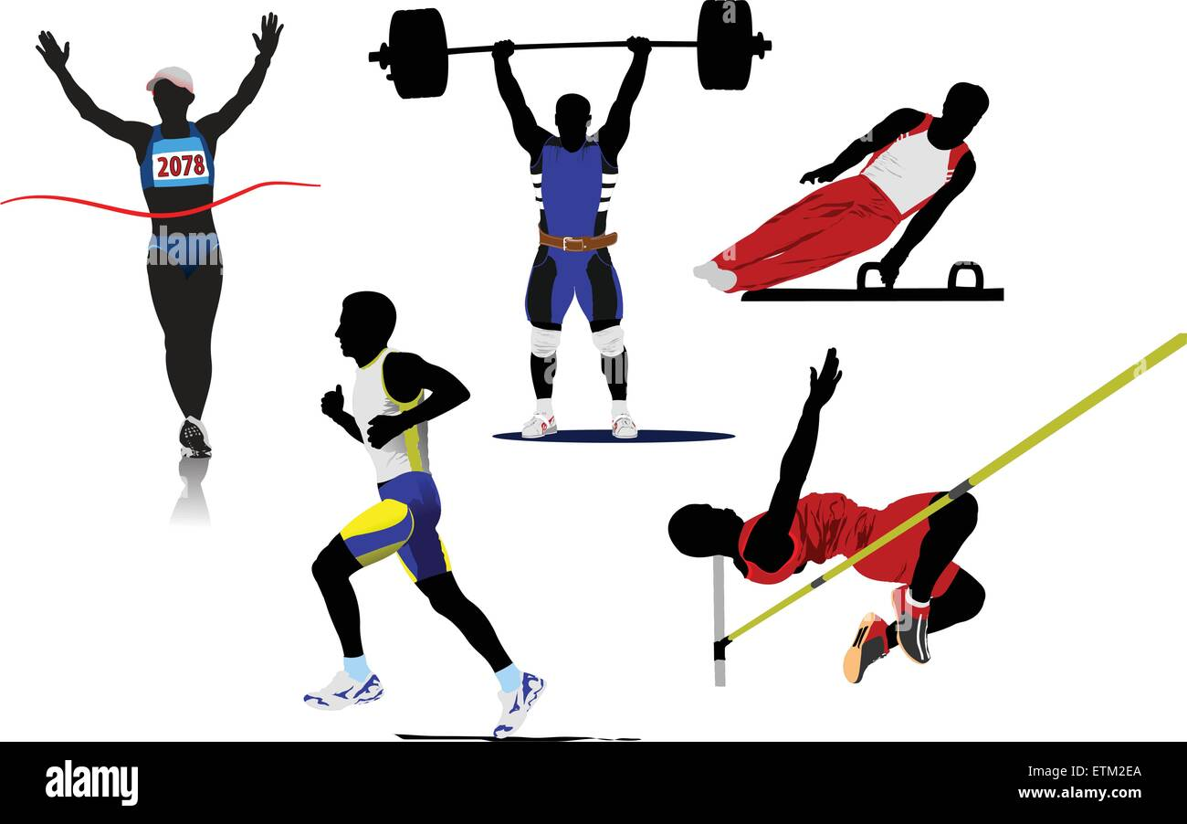 Athletic  sport silhouettes. Vector illustration - Stock Vector