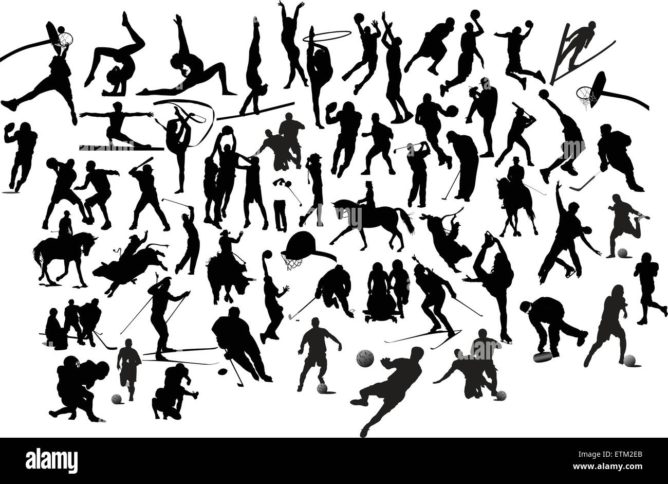 Collection of black and white sport silhouettes. Vector illustration - Stock Image
