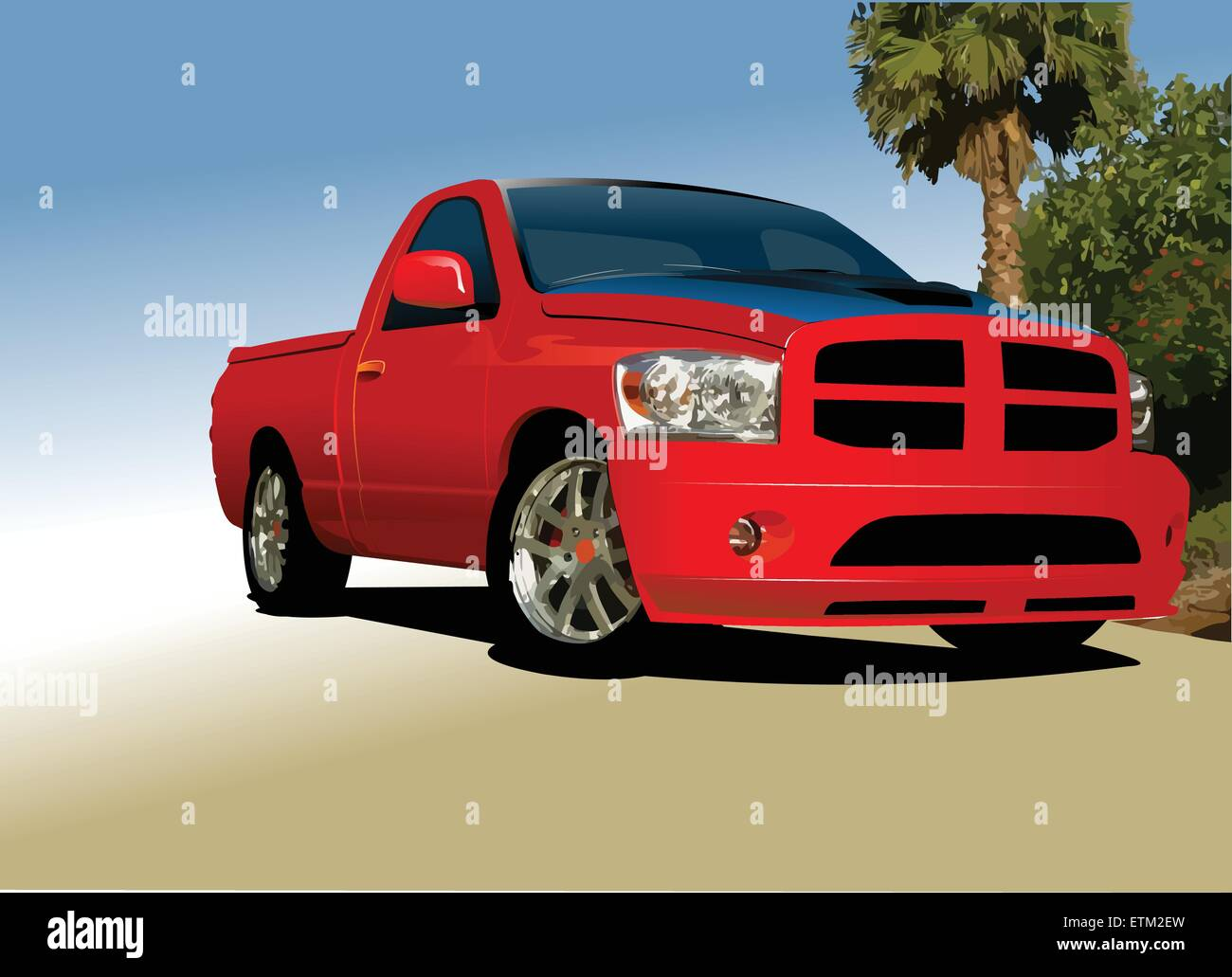 Red small truck on the road. Vector illustration - Stock Vector
