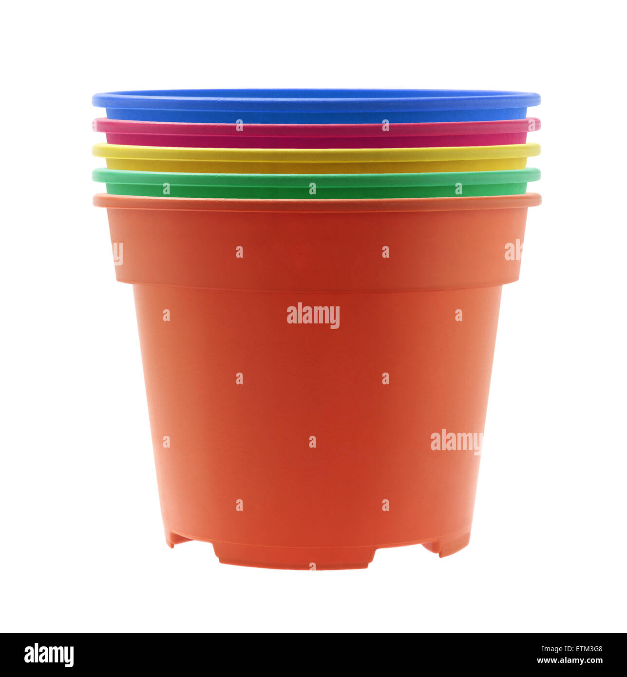 Stack of colourful plastic flower pots on white background stock stack of colourful plastic flower pots on white background mightylinksfo