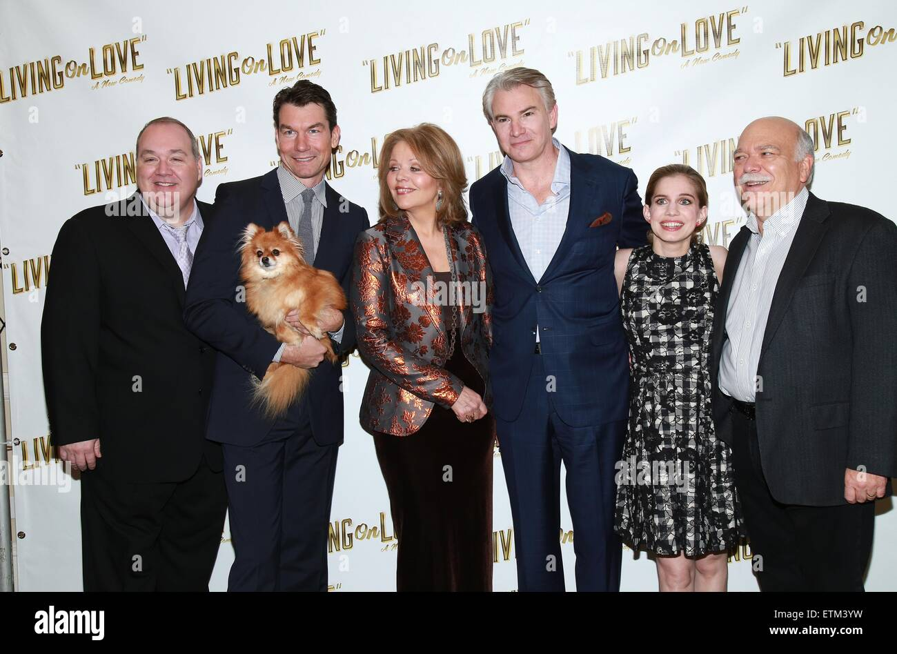 Press junket for Broadway play Living On Love held at the Empire Hotel.  Featuring: Blake Hammond, Jerry O'Connell, - Stock Image
