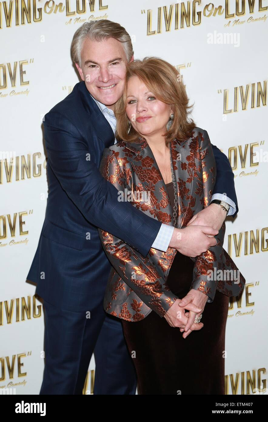 Press junket for Broadway play Living On Love held at the Empire Hotel.  Featuring: Douglas Sills, Renée Fleming - Stock Image