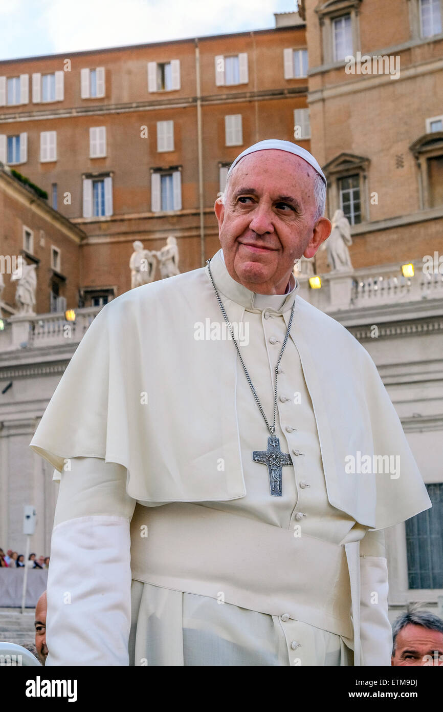 Vatican. 14th June, 2015. Pope Francis, Meeting about the family of the Diocese of  Rome in Saint Peter Square, - Stock Image