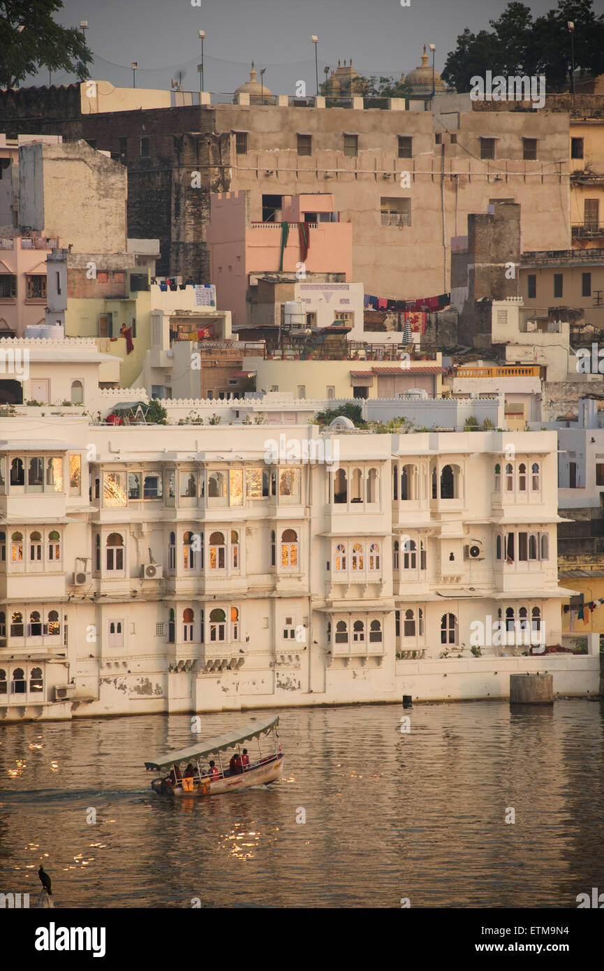 View of Udaipur from the Lake Pichola hotel. Rajasthan, India - Stock Image