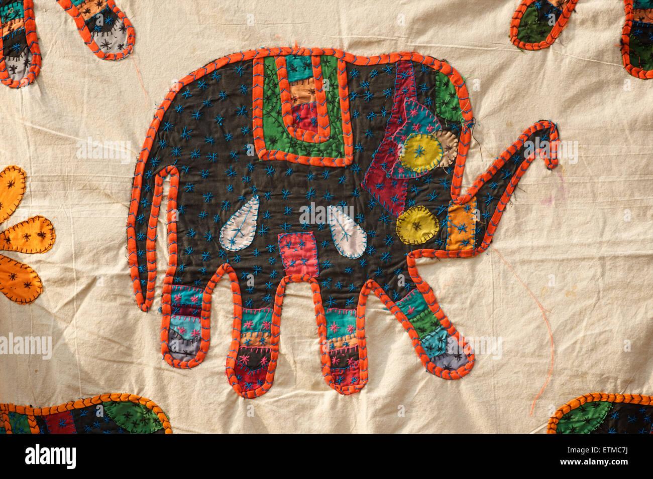 Applique Rajasthani textile with an elephant motif, Jaisalmer, Rajasthan, India - Stock Image
