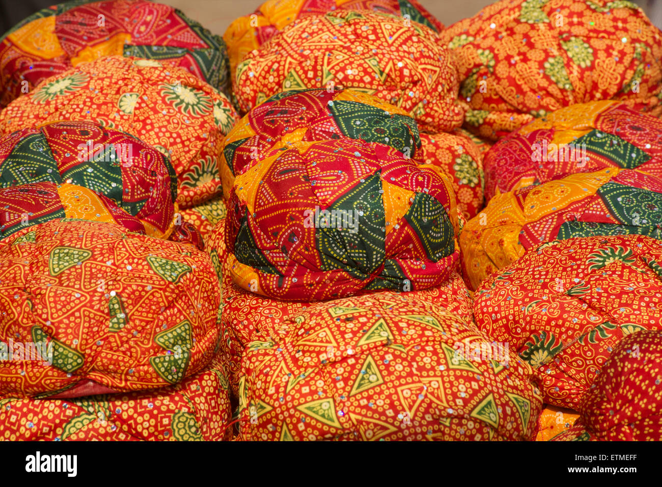 Hats of Indian fabric for sale n Jaisalmer,   Rajasthan, India - Stock Image