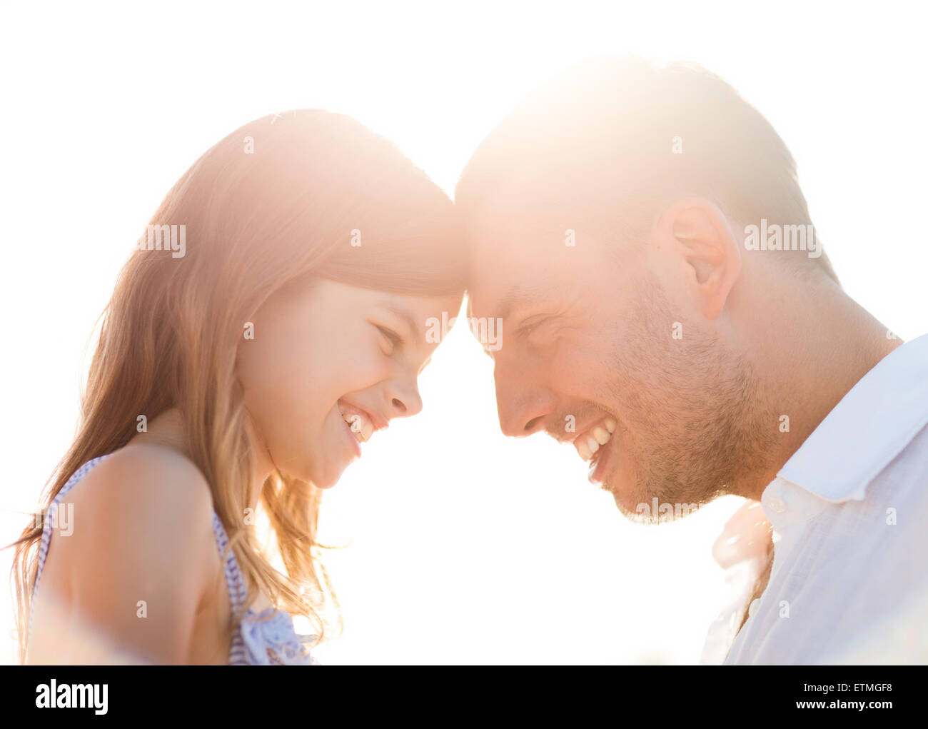 happy father and child girl having fun - Stock Image