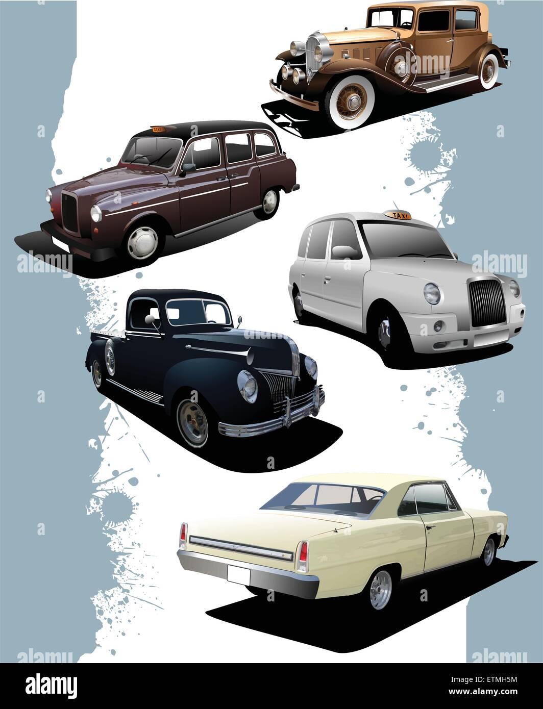 Five old  cars. Retro. Vector illustration - Stock Vector