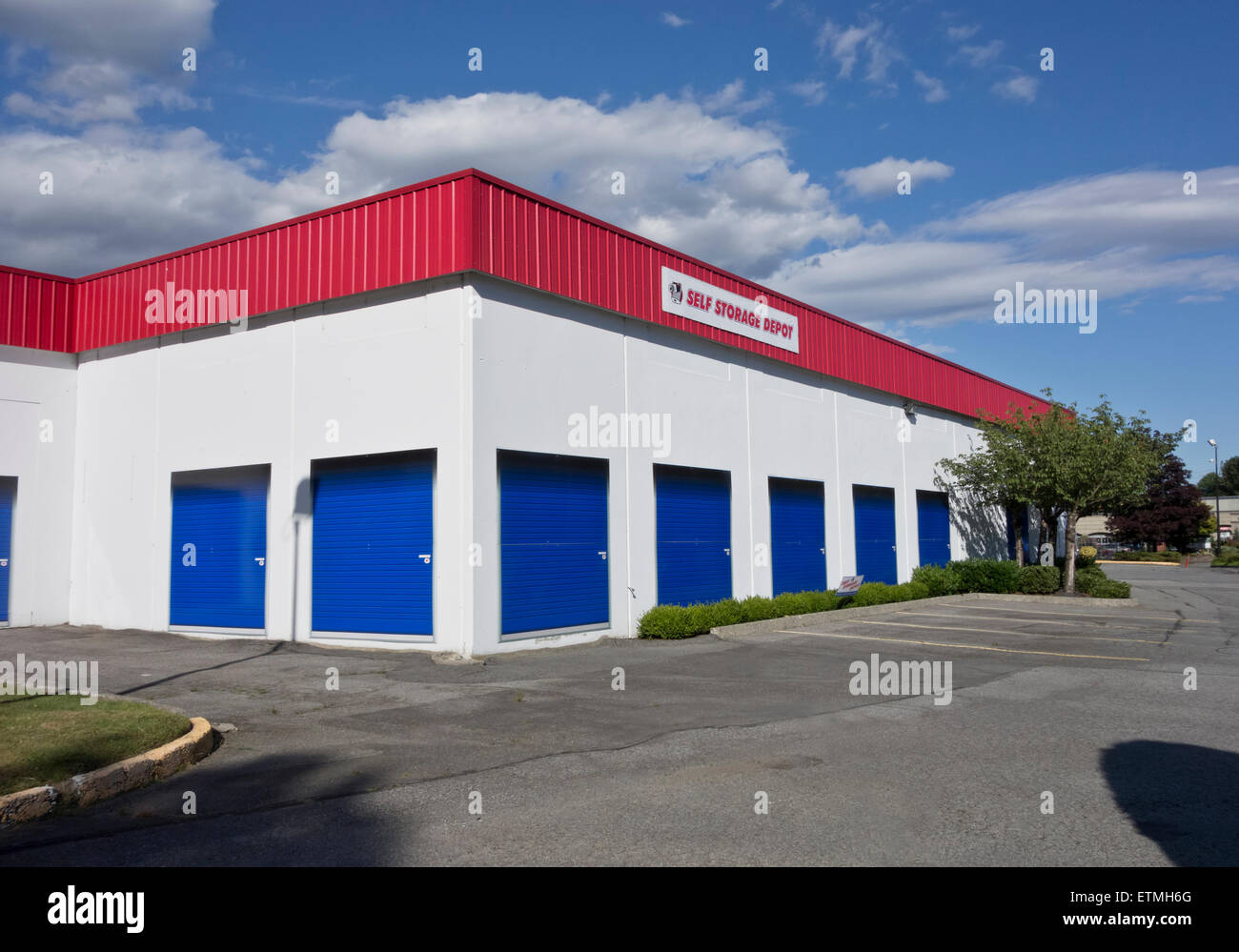 Self Storage Depot, A Storage Warehouse In Suburban Vancouver, Canada.  Outside Building.