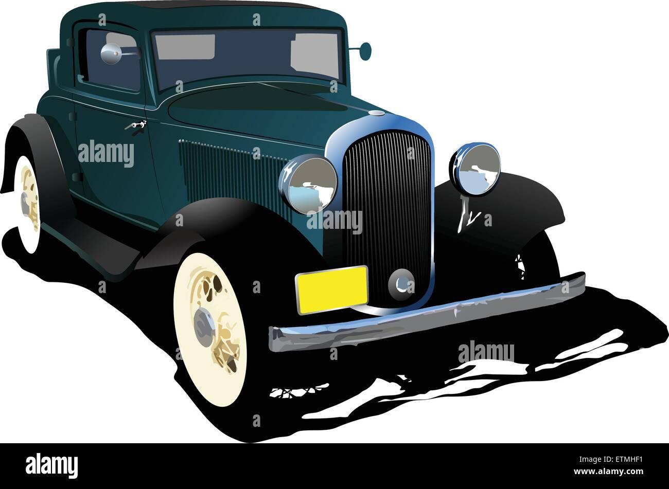 Old green cab. Vector illustration - Stock Vector