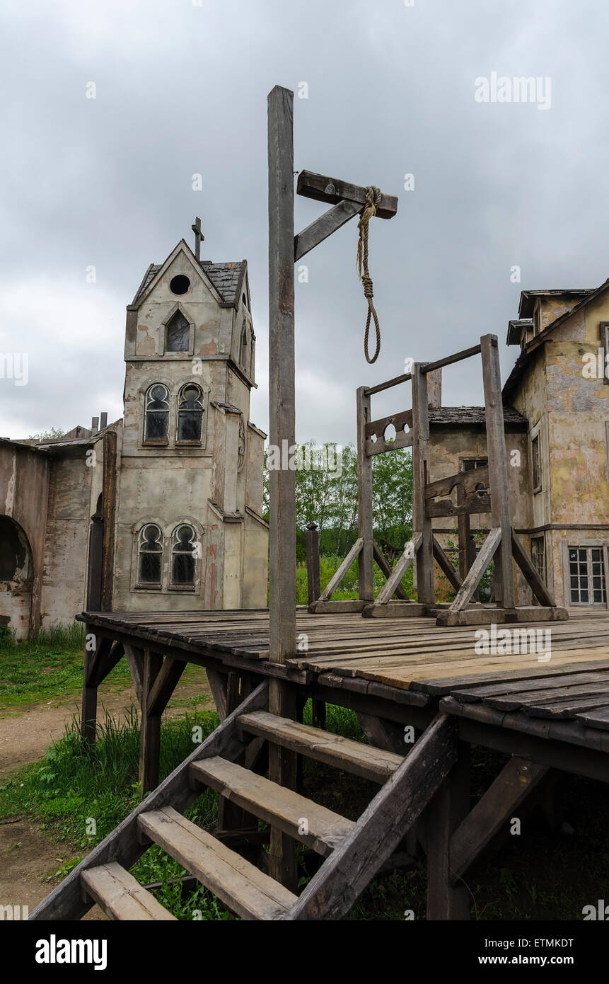 Medieval scaffold gallows in the square of medieval town - Stock Image