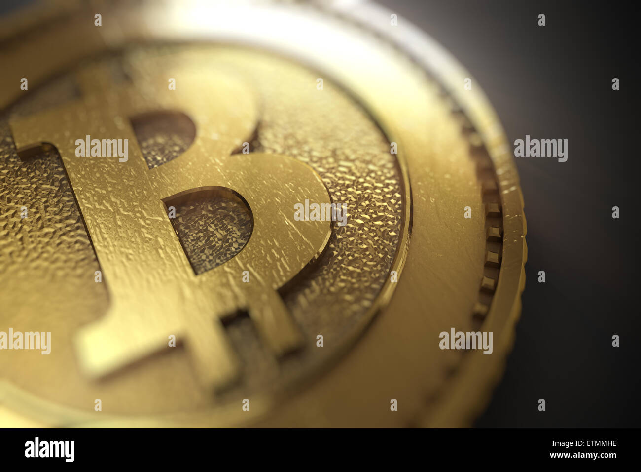 Stylized representation of Bitcoin, a digital currency. - Stock Image