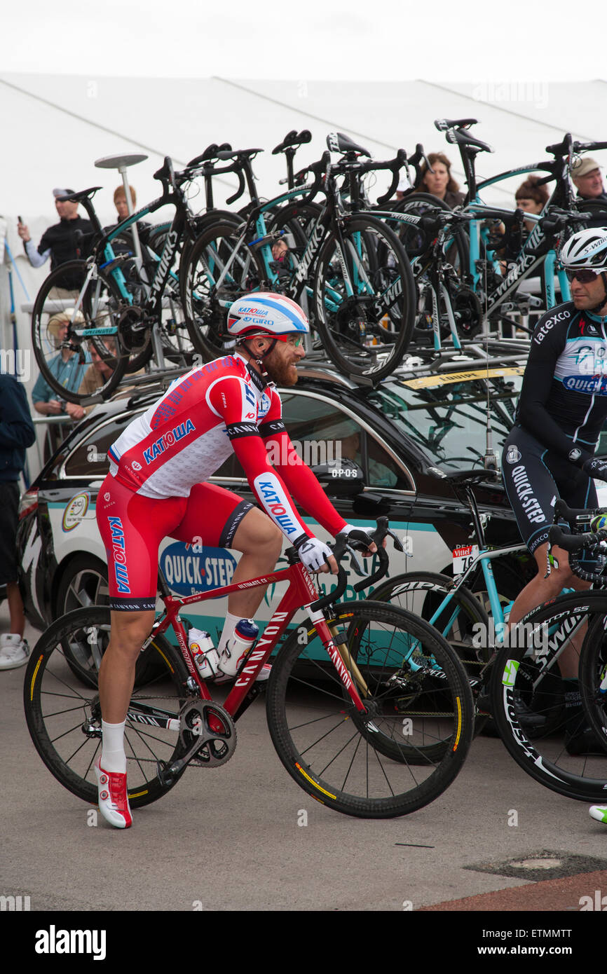 87186c8d6 luca paolini team Katusha at the 2014 Tour de France York Racecourse sign in.  -