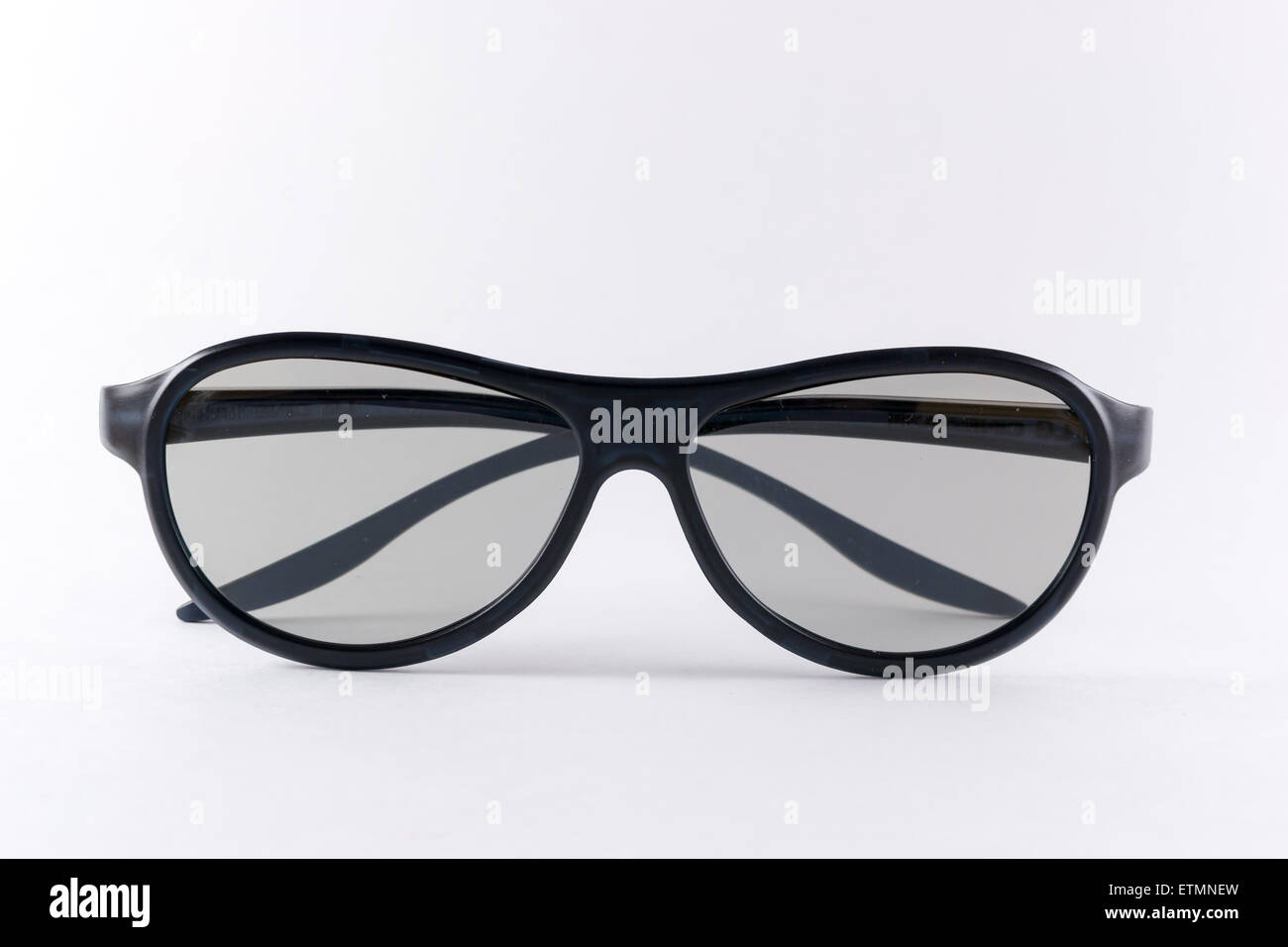 Clean folded black 3D glasses isolated on a white background Stock Photo