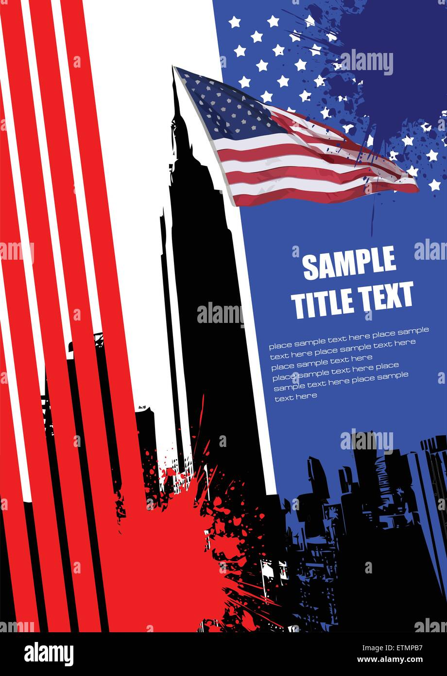 Cover for brochure with USA image and American flag - Stock Vector