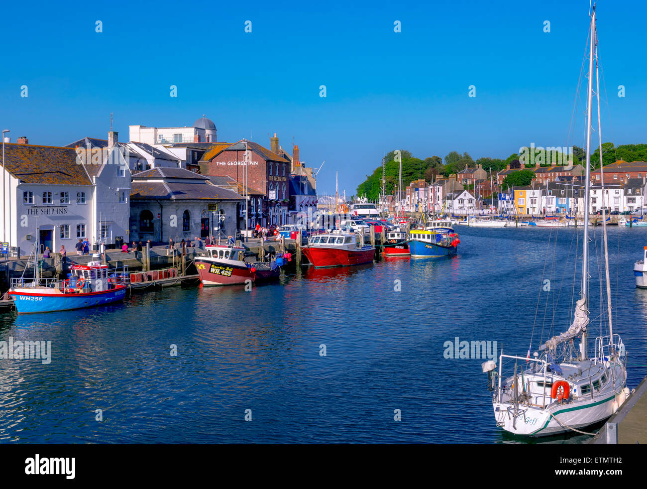 A view of weymouth harbour in Dorset Stock Photo