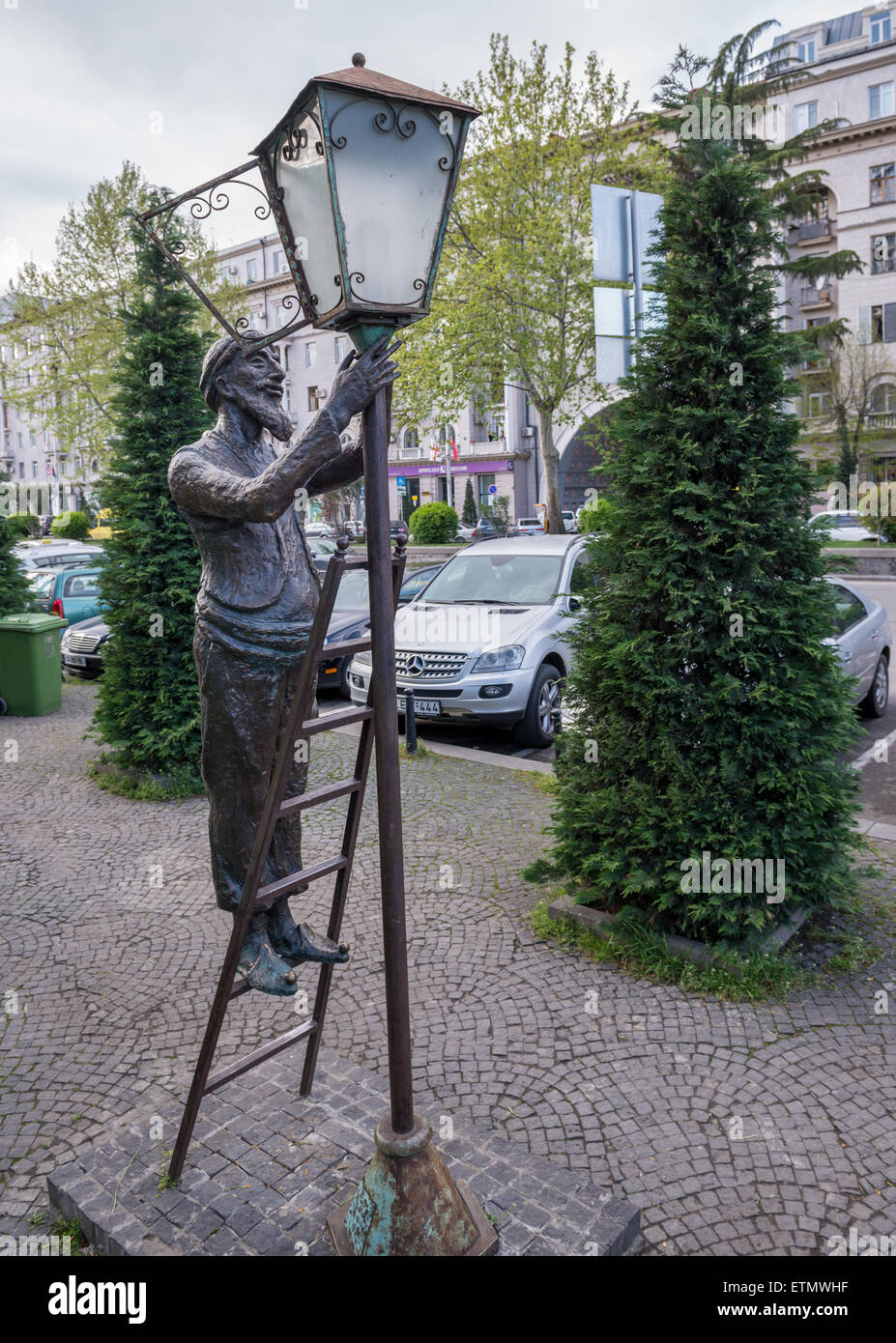 Sculpture Of Lamplighter At Baratashvili Street In Tbilisi, Capital Of  Georgia