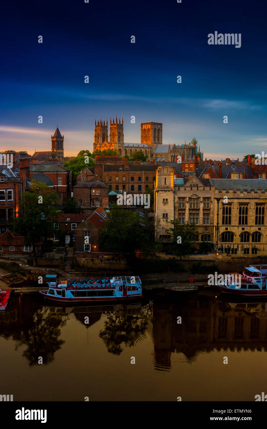 York Minster and River Ouse, York, UK, at sunset. - Stock Image