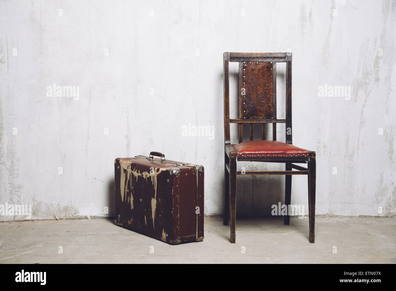 old suitcase and the chair Stock Photo 84054430 , Alamy