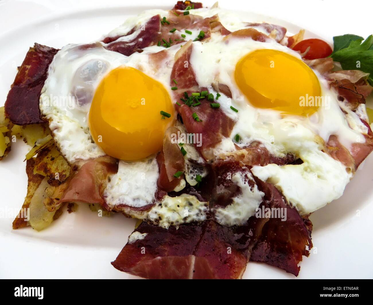 Sunny side up fried eggs - Stock Image