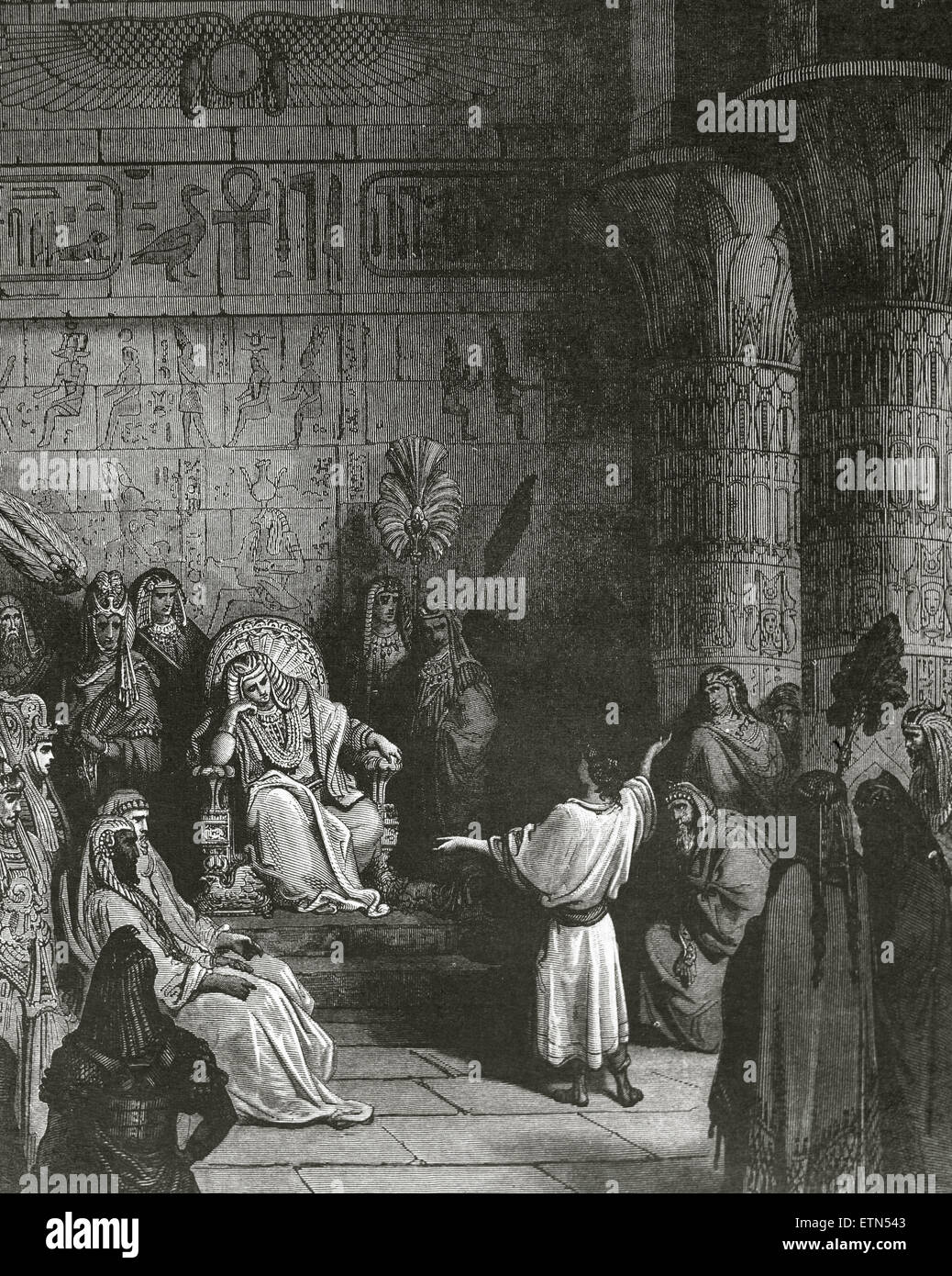 Joseph interprets Pharaoh's dream. Old Testament. Drawings by Gustave Dore. 19th century. - Stock Image