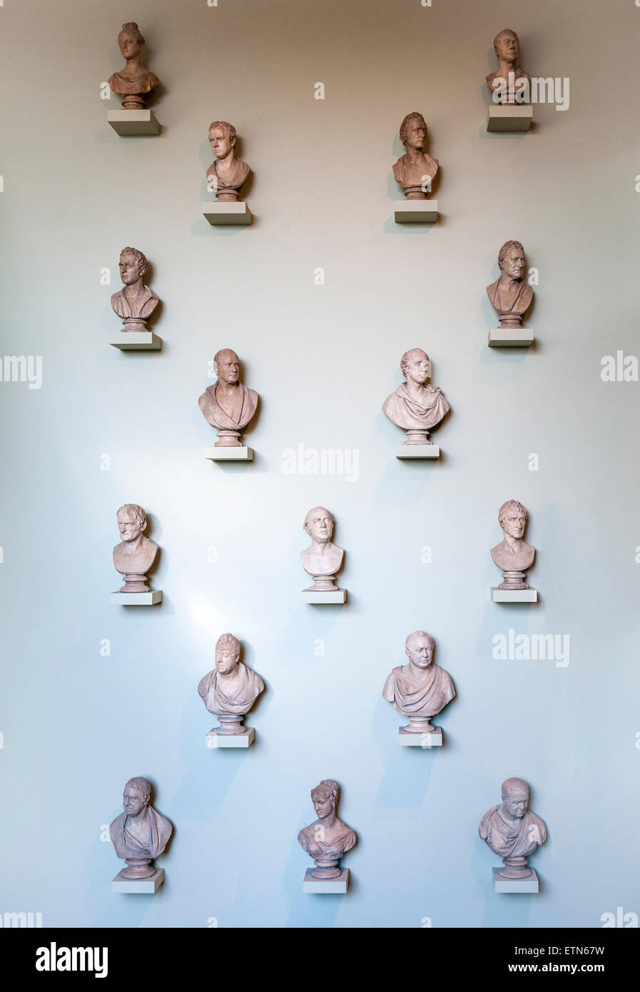 Ashmolean Museum, Oxford, UK. The Chantrey Wall, a collection of plaster busts by Sir Francis Chantrey (1781-1841) - Stock Image