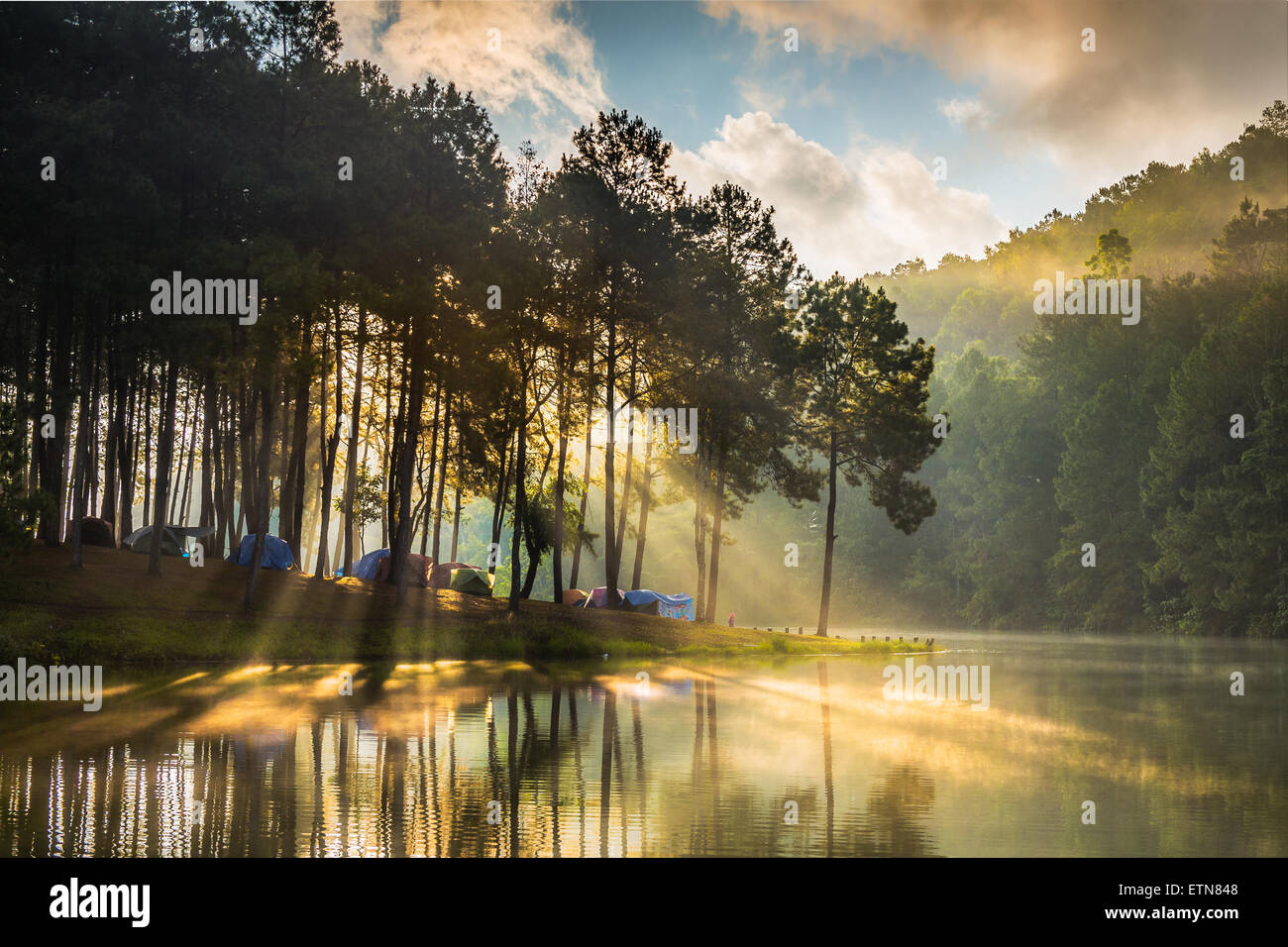 Tents on a tree lined river bank, Pang Ung, Thailand - Stock Image