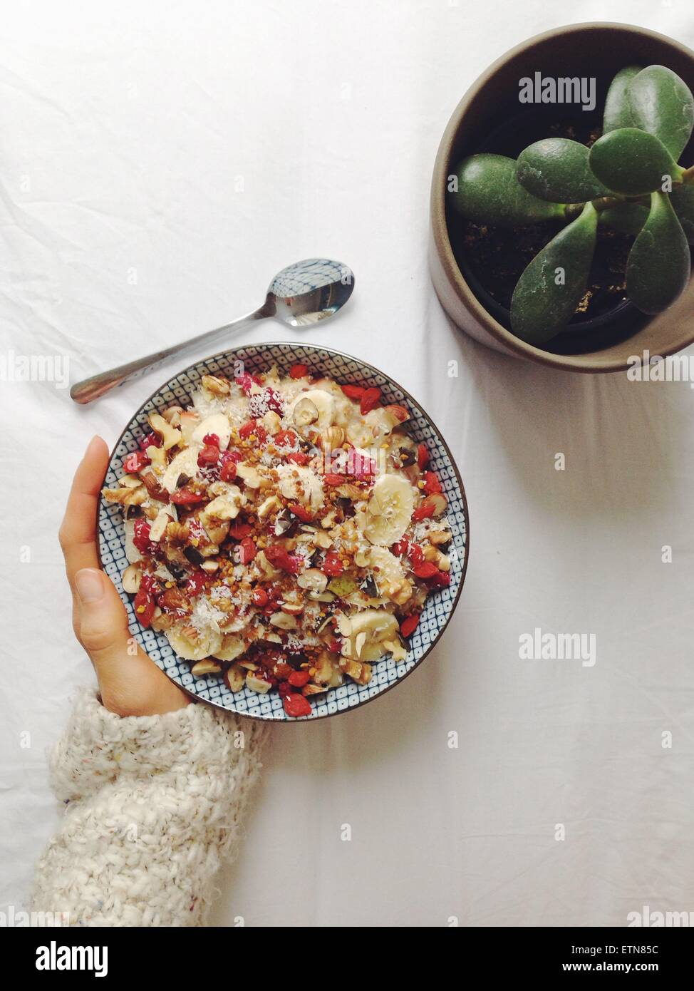 Oatmeal with superfood toppings - Stock Image