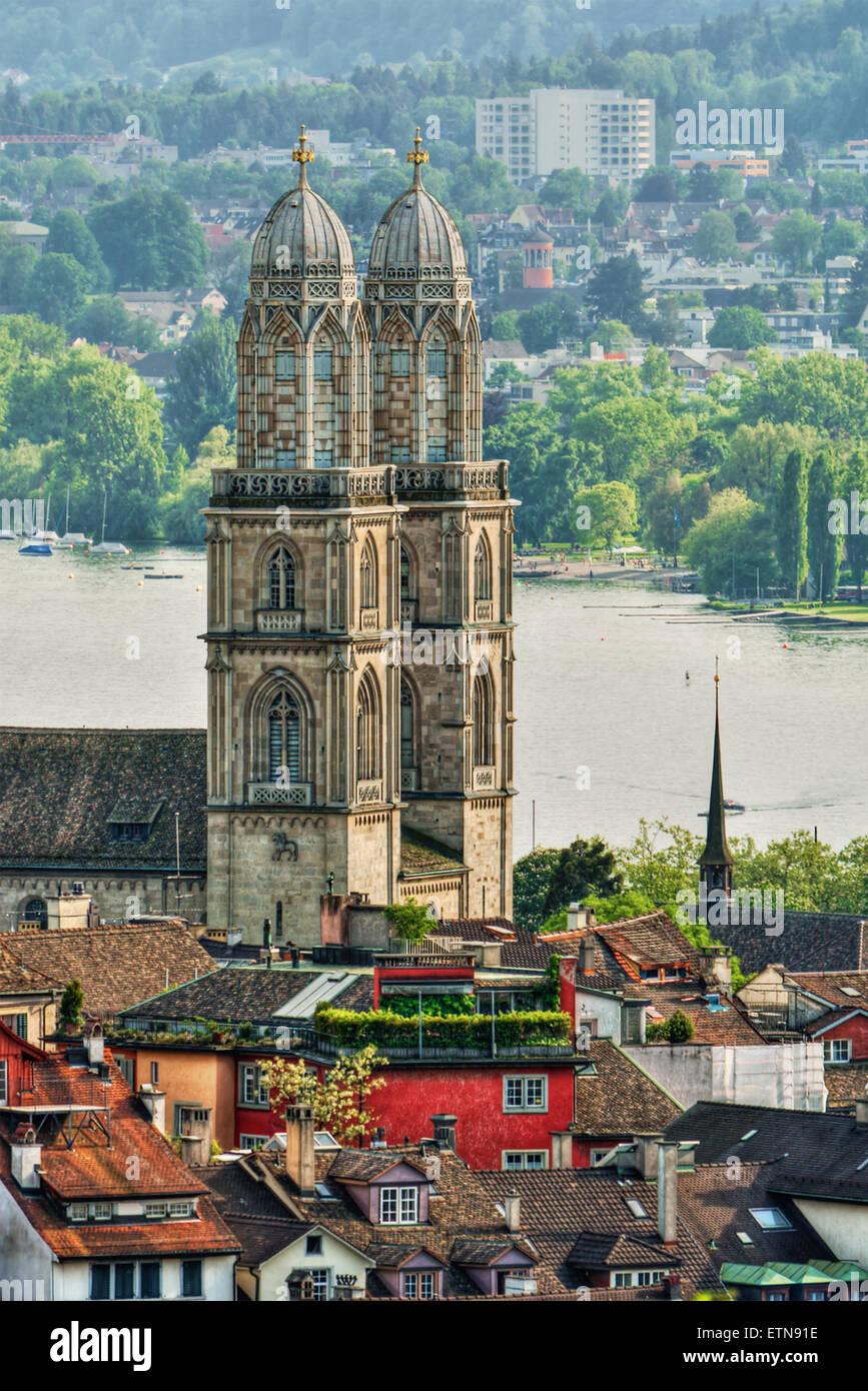 Great Minster and city skyline, Zurich, SwitzerlandStock Photo