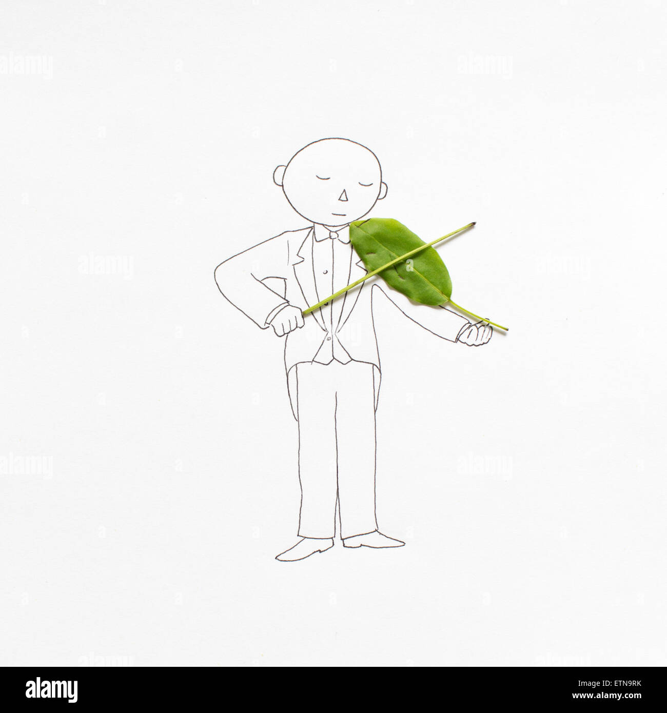 Conceptual drawing of a man playing the violin - Stock Image
