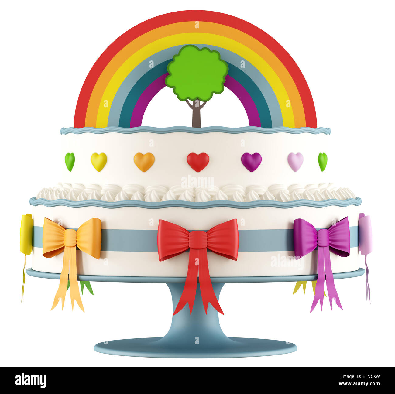 Birthday cake for children with rainbow,tree,hearts and bow - 3D Rendering - Stock Image