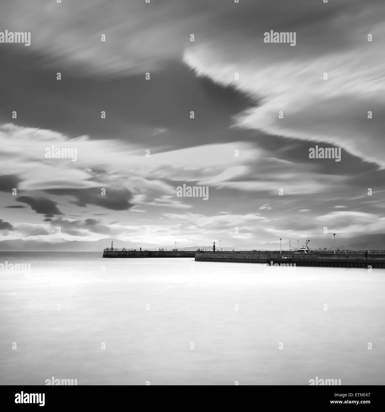 Enoshima pier and clouded sky, Kanagawa Prefecture, Japan - Stock Image