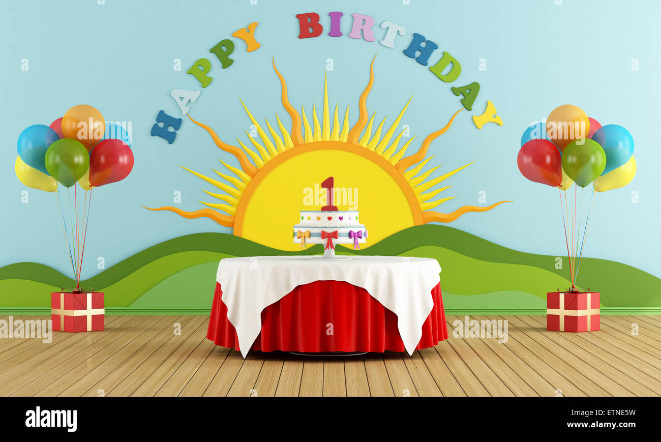 Birthday party with round table with cake and colorful decoration on ...