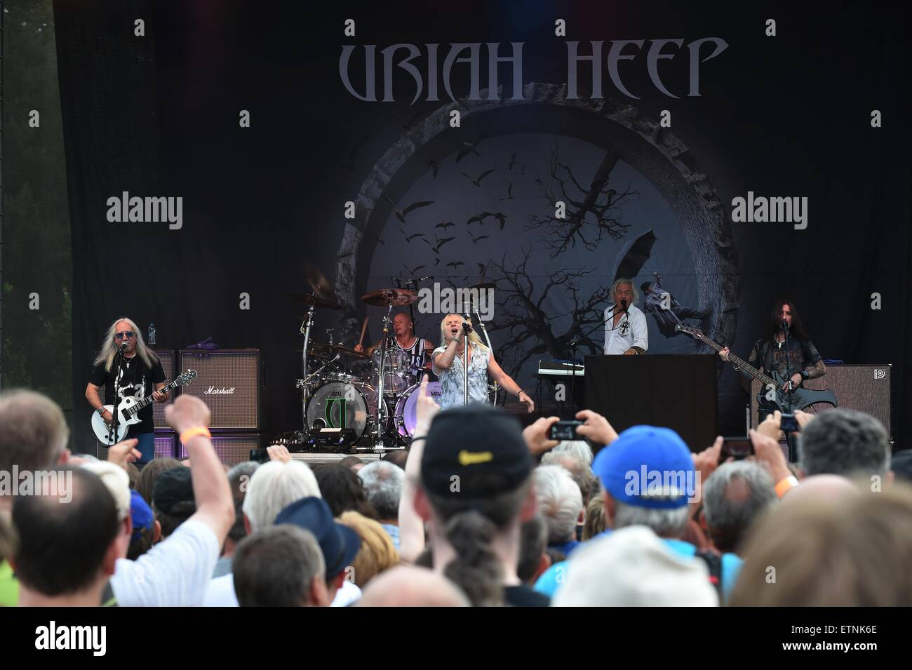 Mick Box, Russel Gilbrook, Bernie Shaw, Phil Lanzon and Davey Rimmer, from left, of British heavy metal group Uriah - Stock Image