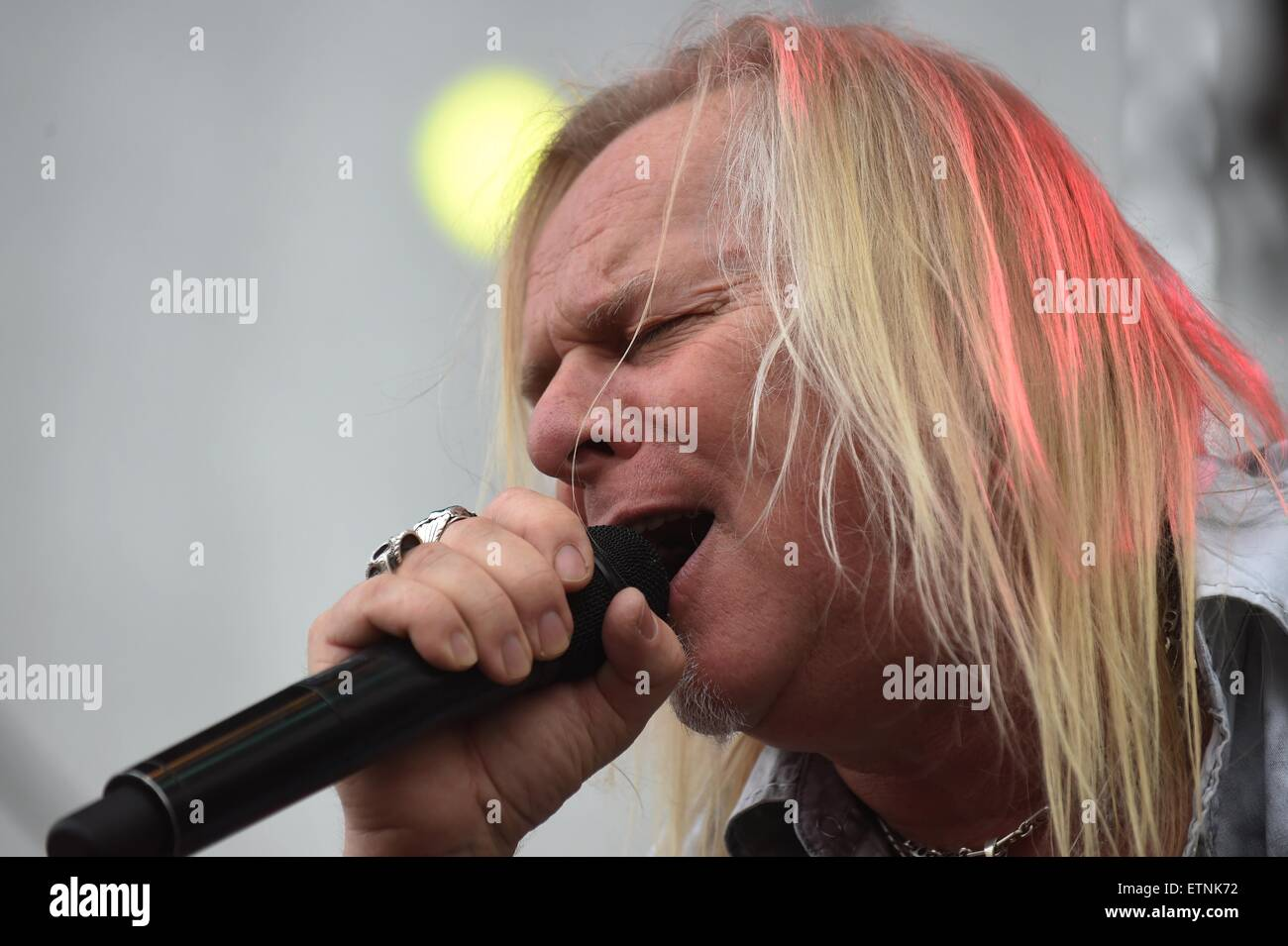 Bernie Shaw of British heavy metal group Uriah Heep performes during the music festival the Bounty Rock Cafe Open - Stock Image