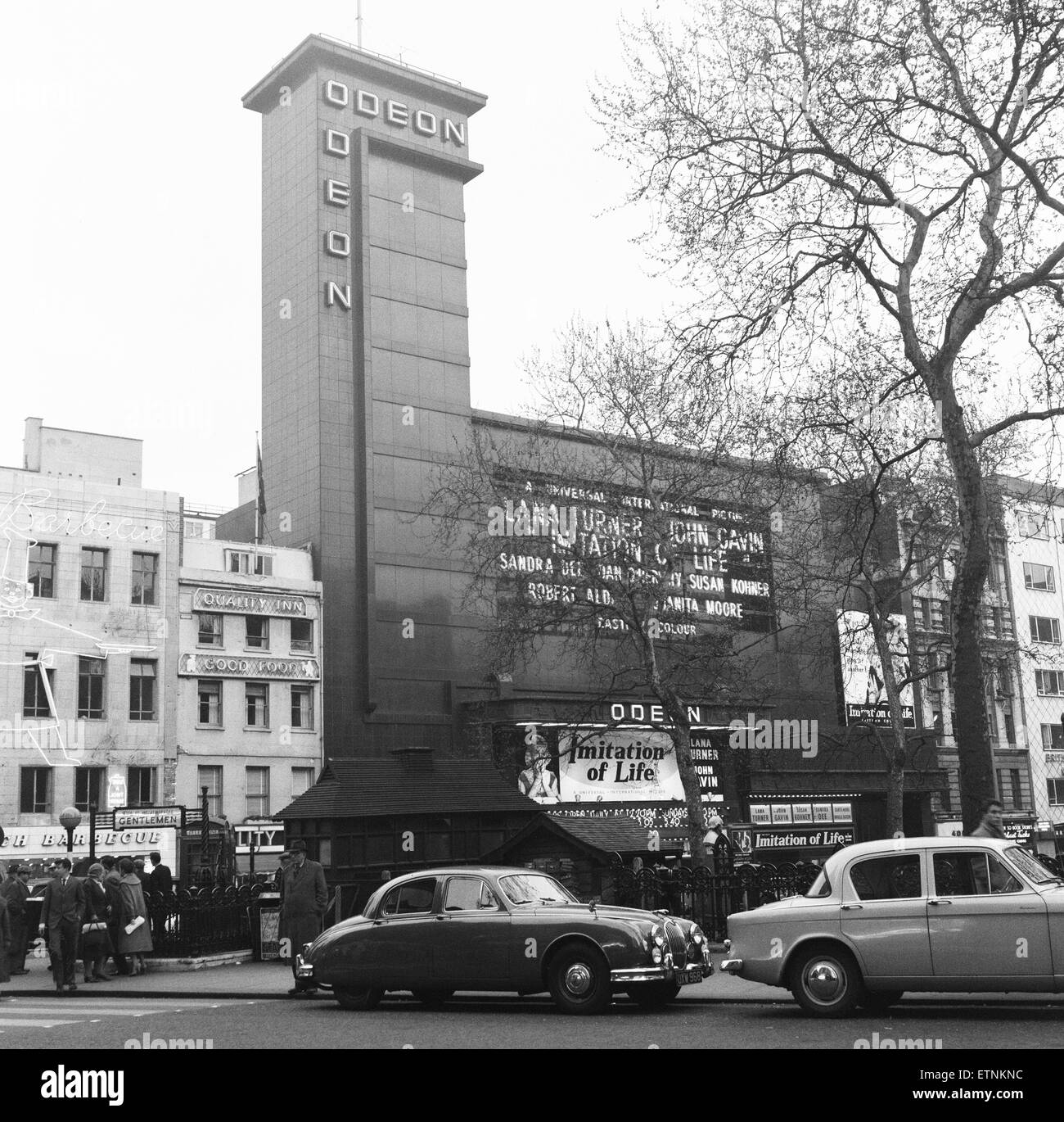 Jaguar S Class seen here parked outside the Odeon, Leicester Square, London.  14th April 1959 - Stock Image
