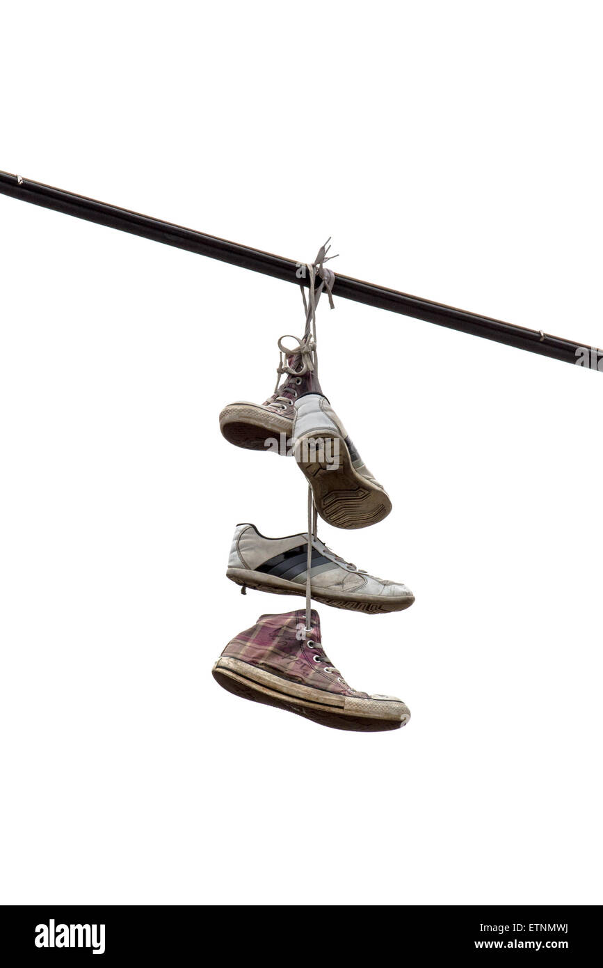 Shoes Hanging Wire Shoe Tossing Stock Photos & Shoes Hanging Wire ...
