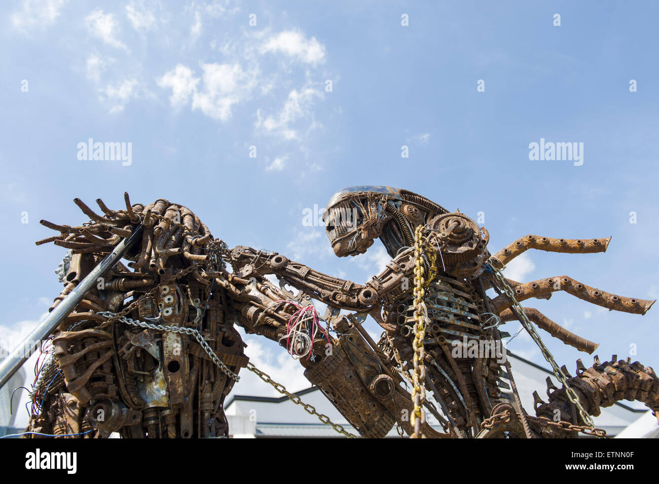 Garden City, New York, USA. 14th June, 2015. The Alien sculpture, by artist Hale Storm of Freeport, is on display - Stock Image