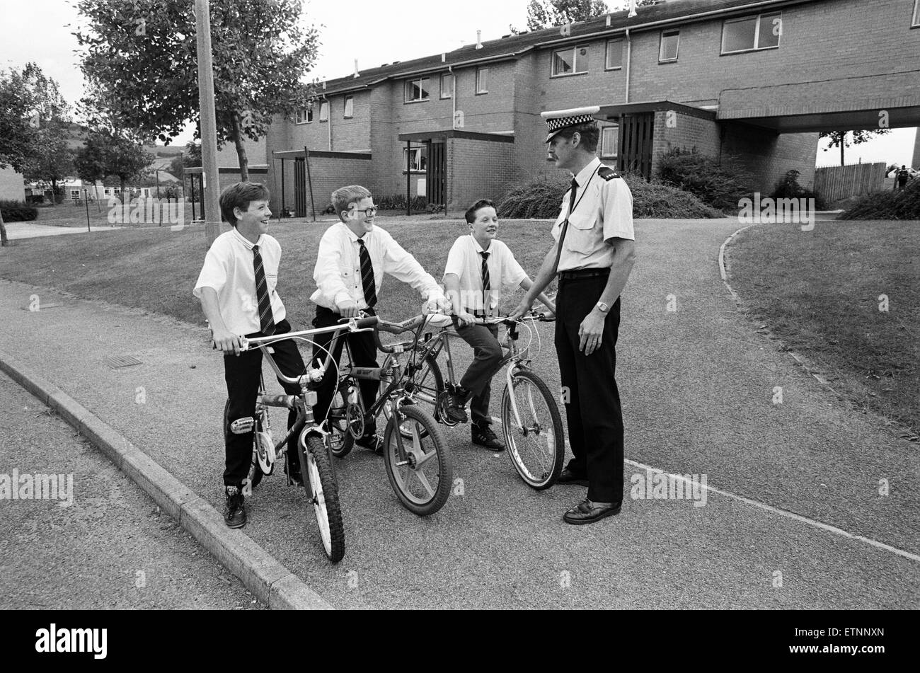 PC Alan Laurie, Huddersfield accident prevention officer, warns against cycling on pavements, 19th September 1991. - Stock Image