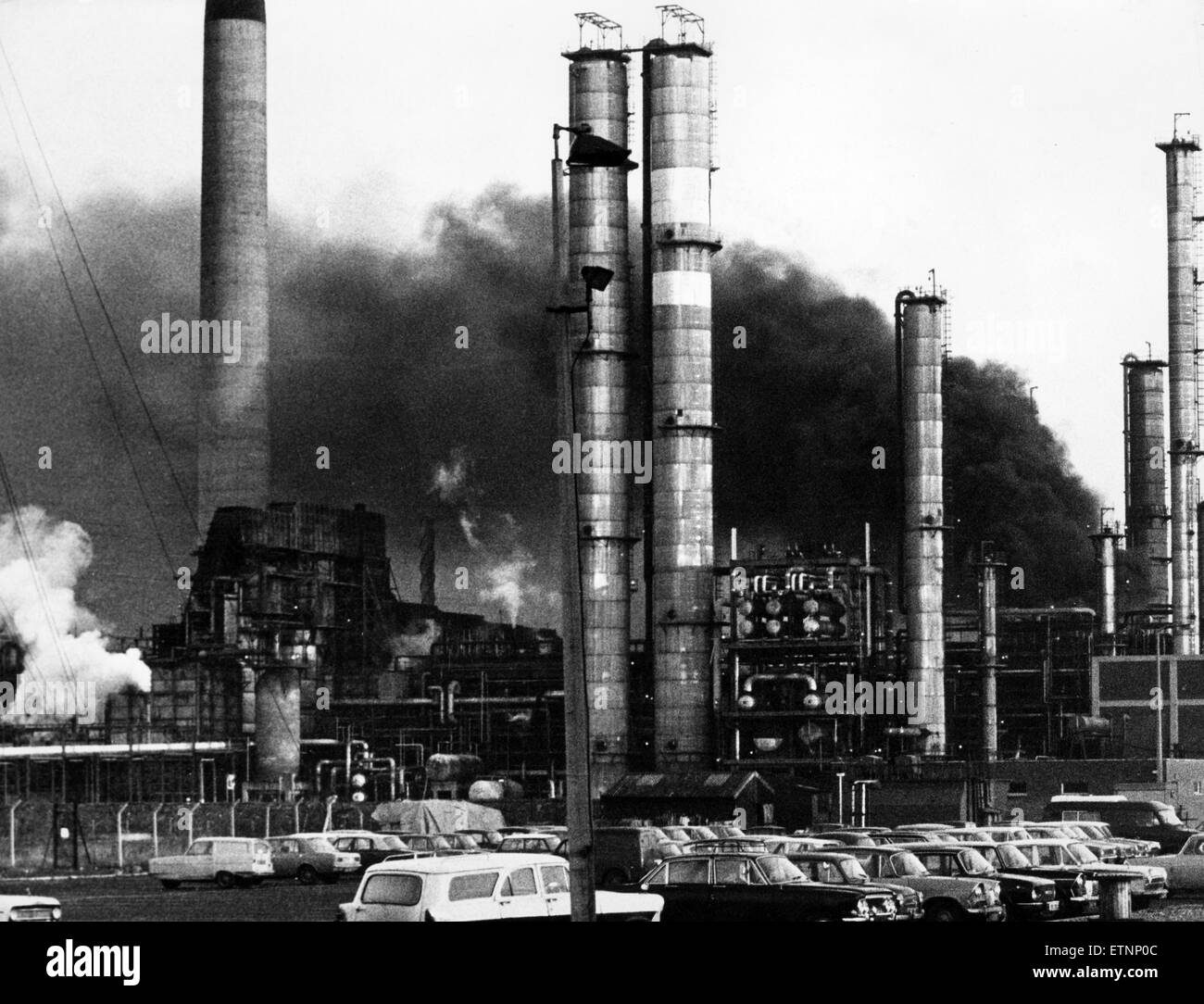 60 firemen tackle blaze at ICI North Tees near Billingham, 2nd January 1972. The fire was located at the No.1 Aromatic - Stock Image