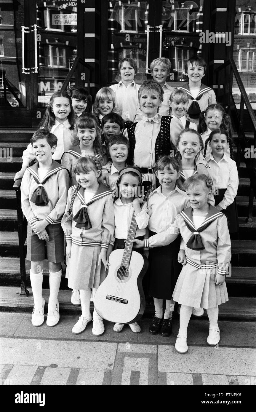 Petula Clark with the final selection of 18 children, three groups of six, children in costume who will be in 'The Stock Photo