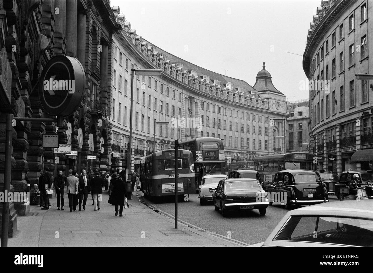 Regent Street, Central London. Circa 1971. - Stock Image