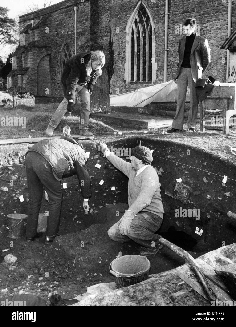 Archaeological dig at St Peter's Church, Wooten Wawen. 9th December 1974. - Stock Image