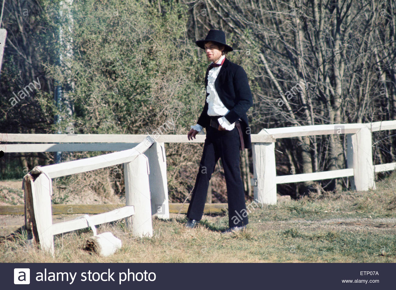 Rolling Stones singer Mick Jagger pictured in Australia during the filming of Ned Kelly. August 1969 - Stock Image