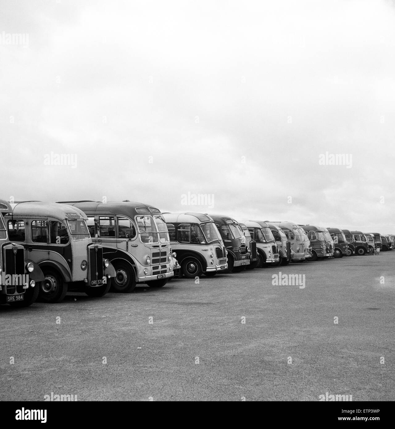 Coaches parked at Southport, Merseyside. 5th August 1959. - Stock Image